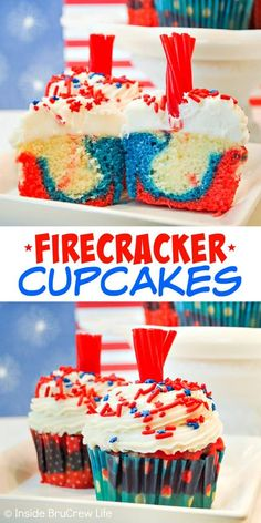 Firecracker Cupcakes - red, white, and blue swirls and licorice toppers make these cupcakes a fun summer treat. Make this easy recipe for Fourth of July picnics and barbecues. #cupcakes #fourthofjuly #redwhiteandblue #frosting #firecrackers #holiday #summerdesserts