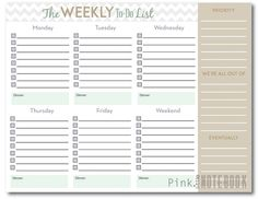 The Ultimate Weekly To-Do List (free printable) | Pink Little Notebook