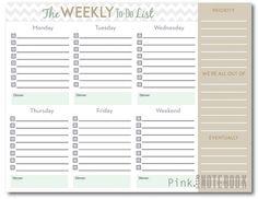Weekly To Do List Printable | DesignerBlogs.com | Printables ...