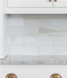 Royal Satin White Marble Subway Tile - 4 x 12 in. - The Tile Shop love the gold grout, something special for laundry. Just a little bit Home Design, Küchen Design, Design Elements, Marble Subway Tiles, Honed Marble, The Tile Shop, Wall And Floor Tiles, Backsplash, Home Kitchens