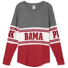 PINK University of Alabama Varsity Crew ($30) ❤ liked on Polyvore featuring tops, red, red top, crew-neck tops, graphic tops, slouchy tops and pink top