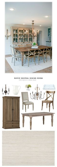 A fixer upper style rustic neutral dining room recreated for less by Copy Cat Chic. by @audreycdyer