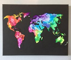 MADE TO ORDER Hand Painted Water Color World Map Canvas 11x13