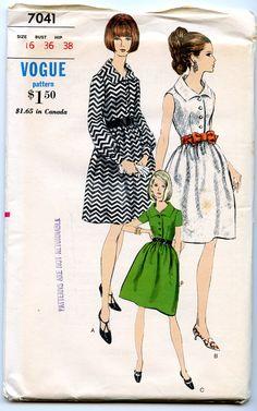 1960's Vintage Vogue Pattern 7041  Onepiece dress in by BrightonSV, $15.00