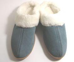 Minnetonka Blue Leather Suede Fur Llined House Slippers.SZ 7 New #MinnetonkaMoccasin #ScuffsMules