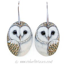 Wonderful Unique Hand Painted Barn Owls Earrings! Painted with acrylics, nickel free, signed on the back and protect with final varnish.    You
