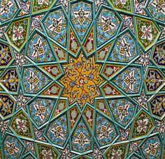 Ceramic tiles pattern decorating the Shah Sheragh Shrine at Shiraz, Fars province, Iran