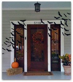 Halloween porch decorating with bats