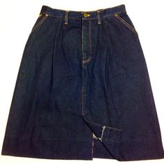 "Vintage Wrangler Denim Skirt Waist measures about 30"", hips: 42"". Length is 25"". Excellent vintage condition. Very sturdy dark denim. The back has stitch marks where the skirt may have once been taken in to accommodate a smaller waist. Definitely does not take away from the beauty of this skirt. Color is best depicted in first photo. Vintage Skirts"