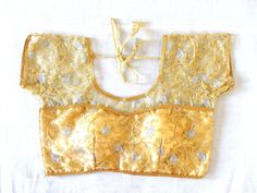Bollywood Fashion Blouse - readymade Net Blouse - Golden Embroidered blouse - Party wear Net Blouse