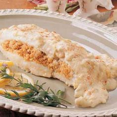 Stuffed+Haddock (with a shellfish free stuffing. Fish Recipes, Seafood Recipes, Great Recipes, Cooking Recipes, Favorite Recipes, Seafood Meals, Seafood Dishes, Recipies, Baked Haddock Recipes