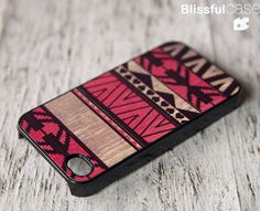 iphone 4 case  geometric art on wood print  red by BlissfulCASE, $14.99