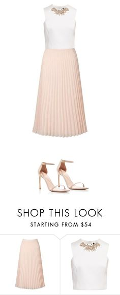 """Spring"" by leah-baritone ❤ liked on Polyvore featuring Miss Selfridge, Ted Baker, Stuart Weitzman, Spring, cute, outfit, skirt and nude"