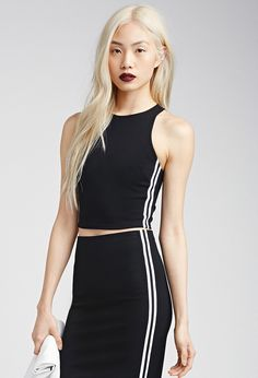 Athletic-Striped Racerback Crop Top   FOREVER21 - 2002247255