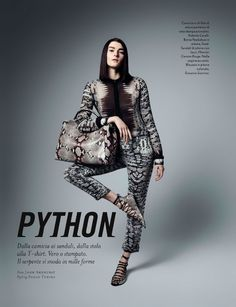 Check out these standout python looks from Amica Magazine. // #fashion #style #editorial
