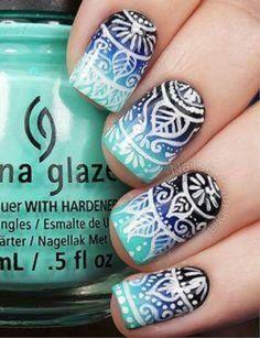59 Pictures of Blue Nail Art Designs 2019 - Nails C Cute Nail Art, Beautiful Nail Art, Gorgeous Nails, Amazing Nails, Nail Polish Designs, Nail Art Designs, Tribal Designs, Nails Design, Gel Polish