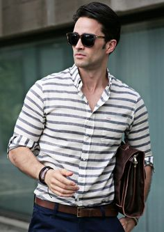 Marine Horizontal Stripe Casual Shirts - New Arrivals