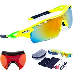 7fa4118cee RIVBOS 801 POLARIZED Sports Sunglasses with 5 Interchangeable Lenses  Fluorescent Color (Green) -  kids