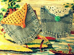 jean + crochet pocket, fun!  Would make a great change purse