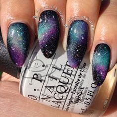 Galaxy nails are so ugly tbh. But they look good on stiletto nails. Get Nails, Love Nails, How To Do Nails, Fabulous Nails, Gorgeous Nails, Pretty Nails, Purple Nail Designs, Nail Art Designs, Marmor Nails