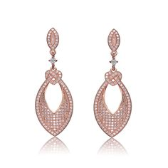 Collette Z Rose-plated Sterling Silver Cubic Zirconia Round Drop Earrings (CZ Earrings), Women's, White