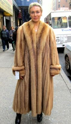 Golden Russian Sable Coat, Pre-owned ( size: 10 -14)
