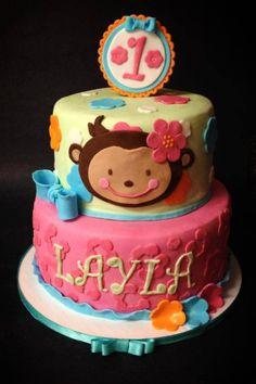 Monkey birthday cake. Girls birthday cake.