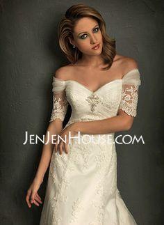 Corte A/Princesa Hombros caídos Cola capilla Satén Tul Vestidos de novia con De encaje (002011512) - JenJenHouse.com