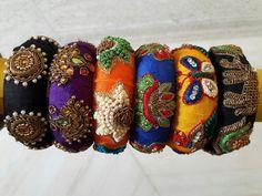 www.nandasbangles.com Whatsupon 9985437979 Fancy Jewellery, Thread Jewellery, Fabric Jewelry, Indian Jewelry, Indian Bangles, Street Style Store, Raw Silk Fabric, Silk Thread Bangles, Bangle Bracelets