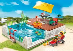 Playmobil City Life Modern Luxury Mansion Swimming Pool with Terrace Play Mobile, Playmobil France, Playmobil City, Garden Sofa, Parasol, Simple Colors, City Life, Modern Luxury, Animal Shelter