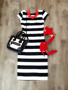 Striped Midi Dress & Pops of Red! Modest Outfit Ideas