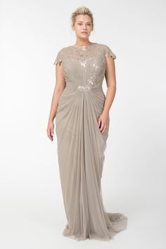 Tulle Draped Cap Sleeve Gown with Paillette Detail in Sand | Tadashi Shoji Fall / Holiday Plus Size Collection