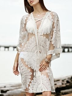 Embroidery 3/4 Sleeve See-Through Cover Up WHITE: Cover Ups | ZAFUL