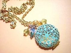 Pretty Secret Garden Locket gold with turquoise blue by fayebella