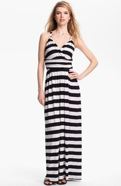 This has a lovely, flattering, easy drape, and the gold hardware is a fun, nautical touch. I found it a bit too steep at $129 for a summer maxi, but sets a nice baseline for future searches #CreatingaNewCloset #SummerStyle // Vince Camuto Stripe Halter Maxi Dress available at #Nordstrom