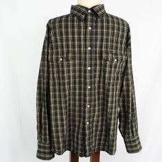 b7c3c409 Wrangler Mens XXL Western Shirt Classic Cotton Plaid Snap Front LS Black  Tan in Clothing, Shoes & Accessories, Men's Clothing, Shirts, Casual Button- Down ...