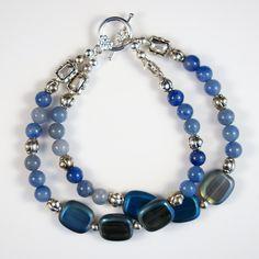 Women's Blue Beaded Double Bracelet by DungleBees on Etsy