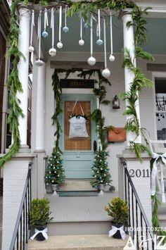 Christmas porch idea: bring ornaments outside!