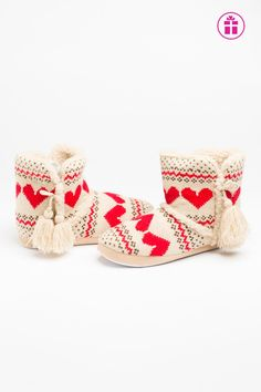 Beige & red knit bootie slippers