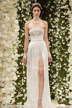 hochzeitskleider designer reem acra schlitz hochzeitskleid brautkleider 2014