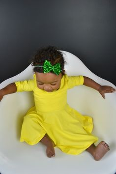Green glitter bow and yellow twirl dress. Perfect spring Easter outfit for baby