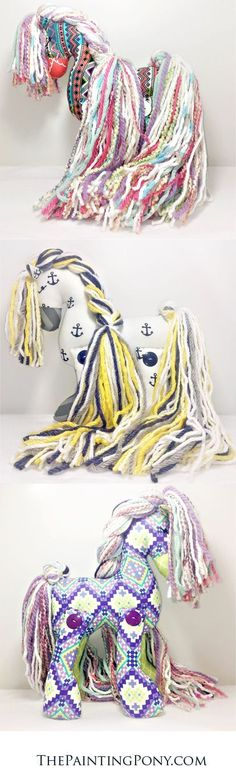 Artisan collaborated stuffed cotton ponies that are one of a kind and truly unique! Limited editions as each is made by hand and with love. Once each is sold, there are no mor Sewing Crafts, Sewing Projects, Stuffed Horse, Stuffed Animals, Horse Crafts, Gifted Kids, Stuffed Animal Patterns, Free Baby Stuff, Sewing For Kids