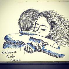 Simplesmente Abraço  Desenho: Ago/2013  #desenhosdoalti #sketchbook #sketch #ilustration #abraço #love #art #Nankin