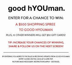 Want to win $500 shopping spree to @goodhyouman? Enter today! http://virl.io/xbiQtRTV Ends 9/3