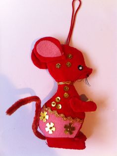 Vintage Felt~Beaded~ Mouse Christmas Ornament
