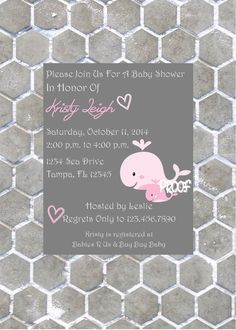 Adorable Whale Girl Baby Shower Invitations by CustomParty4U, $20.00