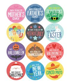 Loving this Penny & Prince Assorted 'My First' Holiday Sticker - Set of 12 on My First Easter, First Mothers Day, My First Halloween, My First Christmas, Baby Month Stickers, First Thanksgiving, Bottle Cap Images, Bottle Caps, Expecting Baby