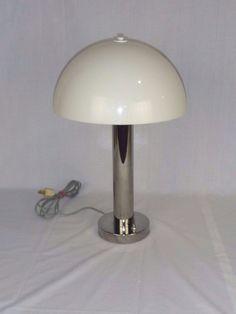 Wonderful Vtg 1968 Mid Century Nessen Chrome Table Lamp W/ Mushroom Shade #6026  #Nessen