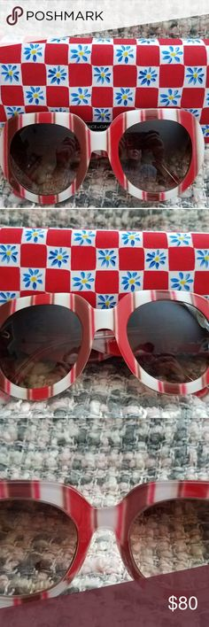 Dolce and Gabbana Sunglasses Brown, Red and White Striped Dolce and Gabbana Sunglasses with case. Dolce & Gabbana Accessories Sunglasses