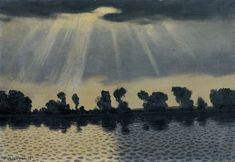 """thunderstruck9: """" Félix Vallotton (Swiss, 1865-1925), La Seine près des Andelys, 1916. Oil on canvas, 39.2 x 57.2 cm. """""""